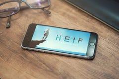 HEIF-Embleem op Apple-iPone 7 Stock Afbeelding