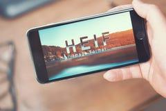 HEIF-Embleem op Apple-iPone 7 Royalty-vrije Stock Foto's