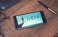 HEIF-logo på Apple iPone 7 Arkivbild