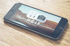 HEIF-logo på Apple iPone 7 Arkivfoton