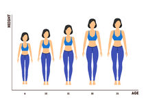Height and Age Measurement of Growth from Girl to Woman. Vector. Height and Age Measurement of Growth from Girl to Woman Flat Design Style. Vector illustration royalty free illustration