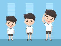 Height of boy grow up royalty free illustration