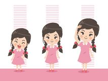 Height of girl grow up vector illustration