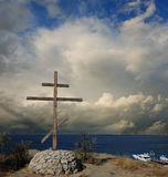 At the height of. Greece. Orthodox wooden cross. Stock Photo