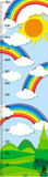 Height measurement chart with rainbow in background stock illustration