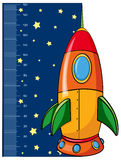Height measurement chart with rocket. Illustration Royalty Free Stock Photo