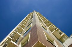Height. Tall building bottom up view stock image