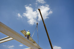 Height worker on building skeleton Royalty Free Stock Photography