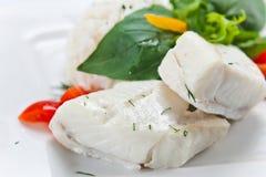 Heilbutt mit Reis lizenzfreies stockfoto