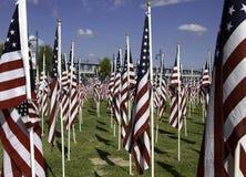 911 heilende Feld-Erinnerungsamerikanische Flaggen Stockfoto
