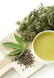 Heilende natürliche Salbe des Hanfs und Marihuanablatt und -samen Stockbild