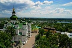 Heilig Drievuldigheidsklooster in Chernihiv, de Oekraïne, mening van hierboven Royalty-vrije Stock Foto