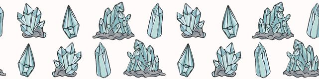 Heilig Esoterisch Kwarts Crystal Magic Hand Getrokken Naadloze Vectorgrens royalty-vrije illustratie