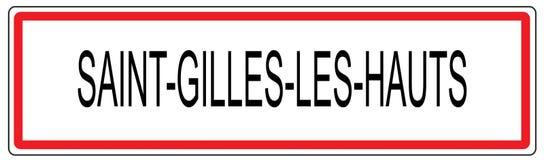 Heilig-Gilles-les Hauts-Stadt-Verkehrszeichenillustration in Frankreich lizenzfreie abbildung
