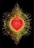 Heilig Hart van Jesus met stralen Vectorillustratie in rood en vector illustratie