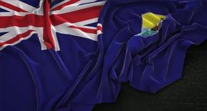 Heilig-Helena Flag Wrinkled On Dark-Hintergrund 3D übertragen Lizenzfreie Stockbilder