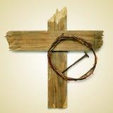 Heilig Kruis, kroon van doornen en spijker royalty-vrije stock afbeeldingen