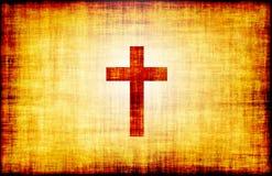 Heilig Kruis op het Document van de Rol van het Perkament Royalty-vrije Stock Afbeeldingen