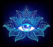 Heilig meetkundesymbool met allen die oog over in zure kleuren zien stock illustratie