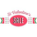 Heilig-Valentinstagverkauf, Rabattfahnenmitteilung Lizenzfreie Stockbilder