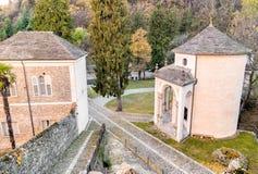 Heilig zet Calvary van Domodossola, Italië op Stock Foto