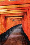 Heiligdom fushimi-Inari-Taisha met zijn vele poorten royalty-vrije illustratie
