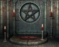 Heiligdom met rode kaarsen Stock Foto's