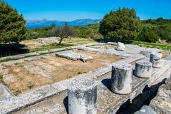 Heiligdom van Wraakgodin in Rhamnous in noordoosten Attica in Griekenland stock afbeelding