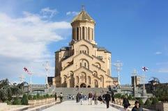 Heiligdreiheitskathedrale in Tiflis, Georgia stockbilder