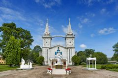 Heilige Anna Nong Saeng Catholic Church, godsdienstig die oriëntatiepunt van Nakhon Phanom in 1926 door Katholieke priesters word royalty-vrije stock afbeeldingen