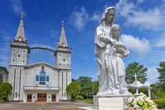 Heilige Anna Nong Saeng Catholic Church, godsdienstig die oriëntatiepunt van Nakhon Phanom in 1926 door Katholieke priesters word stock foto's
