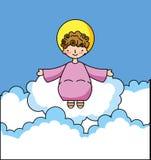 Heilige baby Jesus in wolkenbeeldverhalen stock illustratie