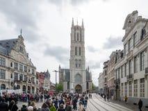 Heilige Bavo Cathedral is een gotische kathedraal in Gent, België royalty-vrije stock afbeeldingen