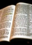 Heilige Bibel geöffnet Stockbild