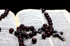 Heilige Bibel mit Kruzifix auf Rosenbeet Lizenzfreie Stockfotos