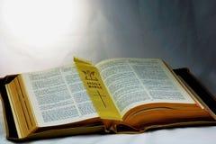 Heilige Bibel; Wort Gottes mit Seitenmarkierung Lizenzfreie Stockfotos