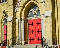 Heilige Charles Parish en School in Burlington Van de binnenstad, WI royalty-vrije stock afbeeldingen