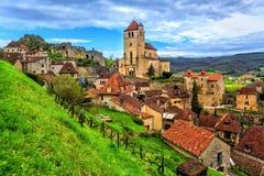 Heilige-Cirq-Lapopie, één van de mooiste dorpen van Frankrijk royalty-vrije stock afbeelding