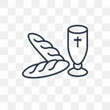 Heilige Communie vectorpictogram op transparante lineaire achtergrond, vector illustratie