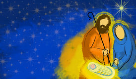 Heilige de geboorte van Christussamenvatting van familiekerstmis Stock Fotografie