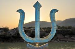 Heilige drietand, wapen van Hindoese god Shiva stock afbeelding