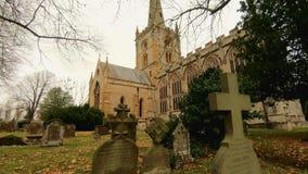 Heilige Drievuldigheidskerk Stratford Upon Avon, Warwickshire, het UK stock footage
