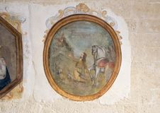 Heilige Eustachius in Museo Nazionale D ` Arte Medievale in Matera Italië royalty-vrije stock foto