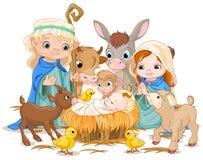 Heilige Familie bij Kerstnacht Stock Foto