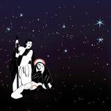 Heilige familienativity en sterrenvector Stock Afbeeldingen