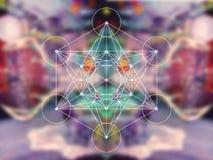 Heilige Geometrie Metatron-Würfels stockfoto