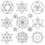 Heilige Geometriesymbolelemente Schwarzer Entwurf lizenzfreie abbildung