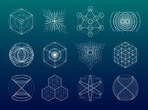 Heilige geplaatste meetkundesymbolen en elementen Stock Afbeelding