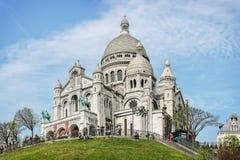 Heilige Hart (sacre-Coeur) basiliek in Montmartre, Parijs Stock Foto's