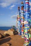 Heilige houten medicijnmantotems Het Meer van Baikal royalty-vrije stock afbeelding